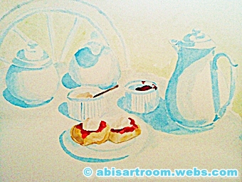 cream tea illustration