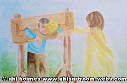 kids in stocks game painting