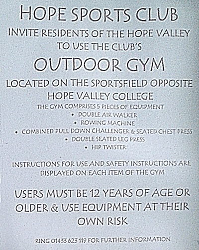 hope sports club outdoor gym poster